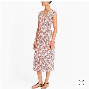 J Crew Mercantile Midi Wrap Dress 70s Floral Small